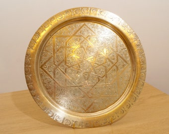 Brass Serving Plate / Tray || Floral pattern / design