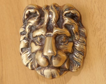 Heavy Lion Wall decor || vintage solid brass