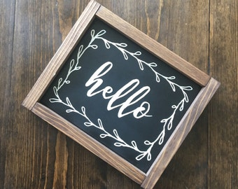 Framed Black and White Hello Sign