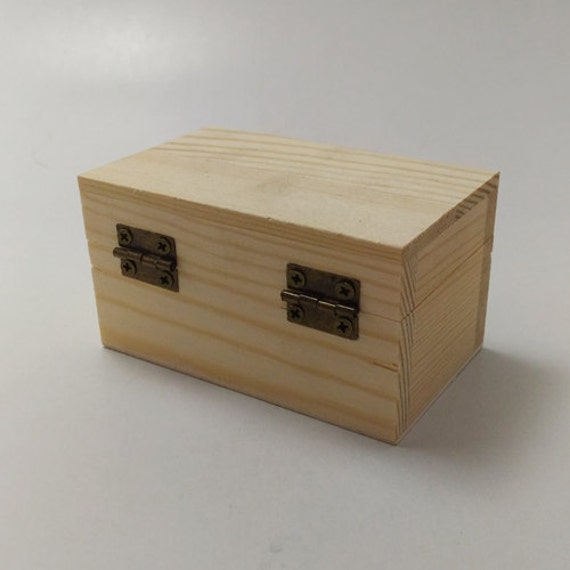 Unfinished wood treasure chest box for diy projects
