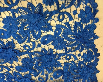 Super beauty embroider floral guipure mesh lace royal blue. Sold by the yard.