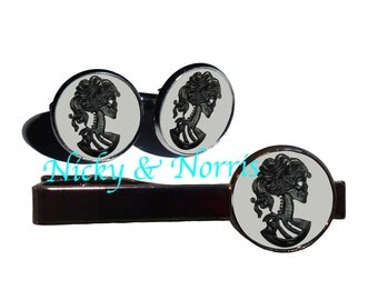 Skeleton Cameo Cufflinks AND Tie Clip Set - Made to Order