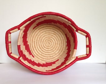 Hand Woven Sisal Fruit Basket - Round - Red/Natural