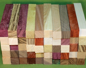 """Pen Turning Blanks, 50 Each  - 11 Differant Woods - 7/8"""" x 7/8"""" x 6""""  -  Shipping Included  - Item #318"""