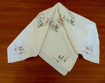 Vintage Embroidered Off White Tablecloth, Multicolor Cross Stitch Flowers,  Hemstitch Finish, Table