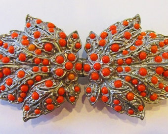 Vintage - Collectible - Coral Leaf Belt Buckle - Jewelry - Silver - Beads - Coral - Leaf - Buckle - Unique - Super - Women's - Gift - 1930s
