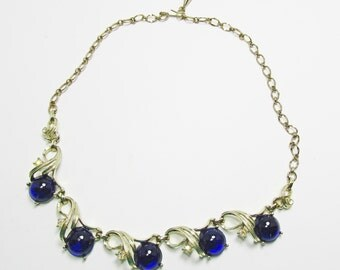 Vintage - Collectible - Blue Rhinestone Necklace - Jewelry - Gold - Rhinestones - Necklace - Flawless - Sparkling - Blue - Sarah Coventry