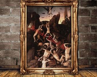 Hell print, Devil in Hell poster, demonic art, occult home decor, demonology, satanic art, Satan in Hell, sinners  #404