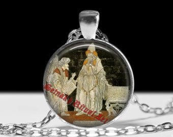 Hermes Trismegistus pendant, Occult necklace, Hermetic jewelry #426