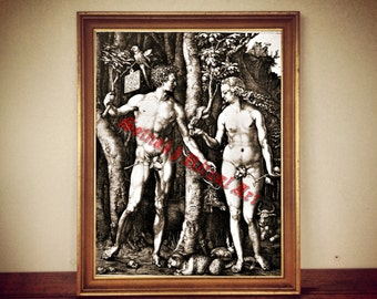 "Adam and Eve print, Eden poster, ""Fall of Man"" illustration, Albrecht Dürer, antique home decor, wall decoration #287"