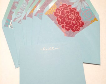 Hello Stationery Correspondence Card Set Floral Envelope Liners