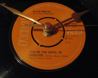 "Elvis Presley you're the devil in disguise  7"" vinyl record clock"