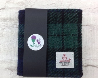 Black Watch tartan limited edition Harris Tweed Wallet, A slim Gents Wallet for cards and notes. Gents gift. Birthday, Best Man, usher,