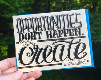 Opportunities Hand Lettered Card