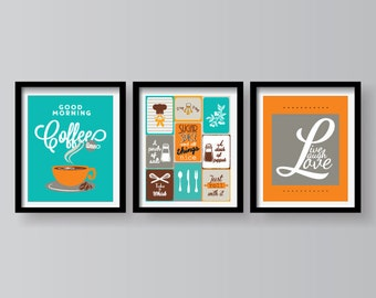 3 SETS ON SALE - Kitchen decor - Kitchen wall art - Kitchen prints - Kitchen art - Kitchen art set - Kitchen poster set - Kitchen set of 3