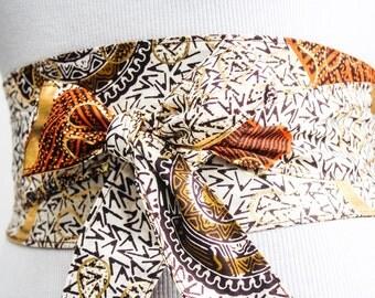 White Ankara Print Obi Belt l African Print Obi Corset Belt | Wax Print Belt | Wide Belt| Corset Belt |Plus size belts| African Print