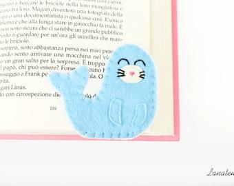 Felt handmade sea lion corner bookmark, light blue seal, sea animals, seal felt animal