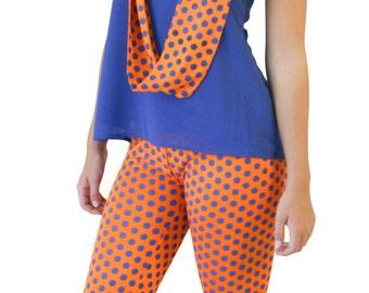Swampin' Legs - Orange/Blue dot leggings