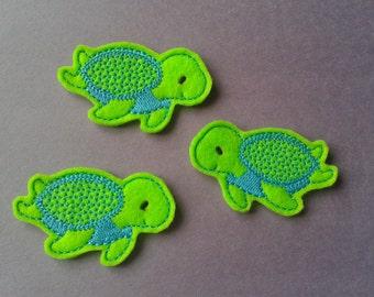 Cute Light Green Sea Turtles Felties 3 Pcs Embellishment Appliques CUT