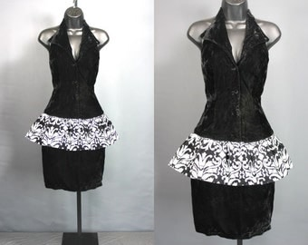 80's Prom Dress.......80's Black Velvet Peplum Prom Dress Party Dress
