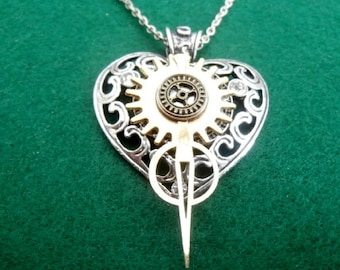 Stunning Steampunk Heart Pendant with Clock Hand