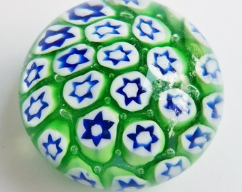Small Green White and Blue  Millefiori Glass Paperweight
