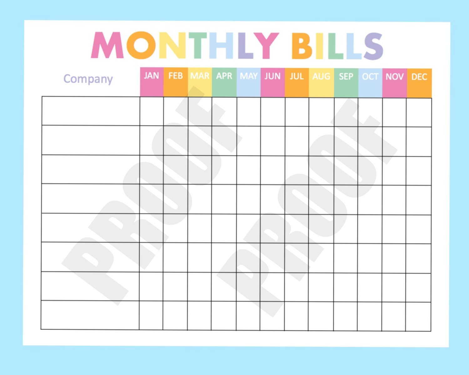 monthly bill organizer printable expense tracker by