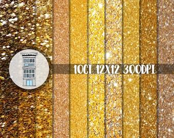 Digital Gold Glitter paper pack INSTANT DOWNLOAD Gold sparkle bling papers digital scrapbooking web design invitations papercrafts
