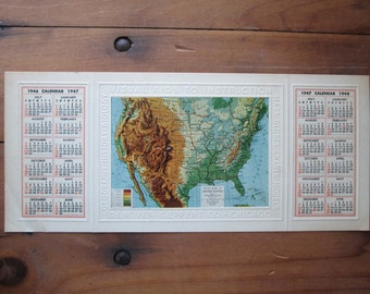 1946 Relief map and calendar, Denoyer Geppert Company,Promotional relief map, Relief model, United States relief map, vintage relief map