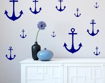 Wall Decals Anchors Multiple Size - Black White Blue Green Orange Yellow Red Grey Pink Purple Silver Gold
