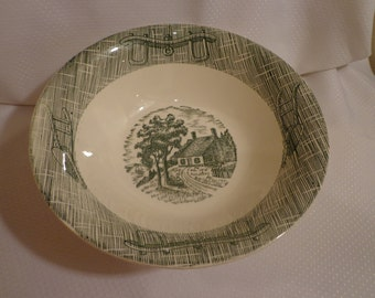 SCIO Currier and Ives Green Transferware Yoke and Harness with George Washington's Homestead Vegetable Bowl, Serving Bowl