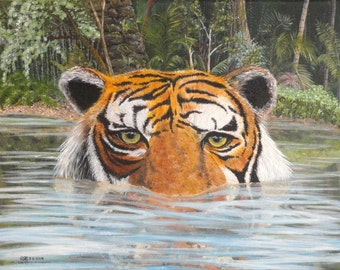 Tiger swimming in jungle lake looking at you, print from acylic painting