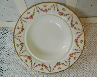 Antique George Jones & Sons (Crescent China) Soup Bowl with Rose Garland/Swag and 22 KT Gold Rim