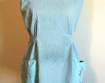 Vintage Geometric Print Turquoise and Gray Full Coverage Apron