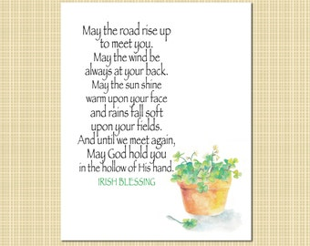 Irish Blessing with clover art print
