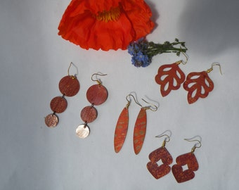 For you & for your gifts - Flame colored copper earrings set - Flamed copper jewelry
