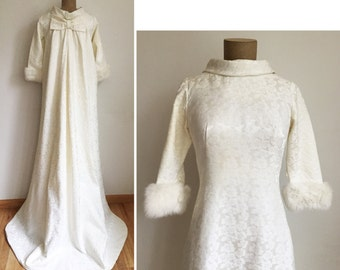 60s FUR Trimmed Wedding Dress - vintage white gown with long train - minimalist 1960s