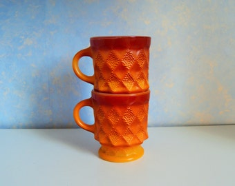 Red and Orange Fire King Kimberly mugs or cups, Set of 2 - Anchor Hocking 1970s