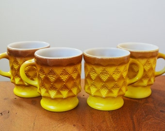 Yellow Fire King Kimberly mugs or cups, Set of 4 - Anchor Hocking 1970s