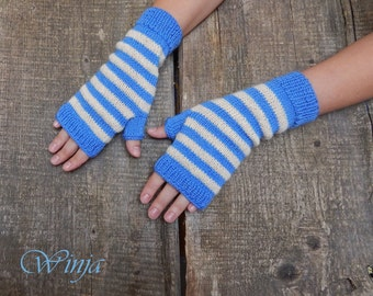 Knitted gloves, fingerless gloves, knitted mittens, arm warmers, blue gloves, boho mittens, striped gloves, hand knit gloves, winter autumn