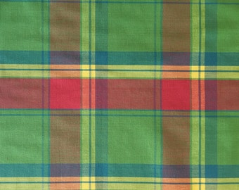 Pink, Blue, and Green Multicolor Plaid - Upholstery Fabric by the Yard