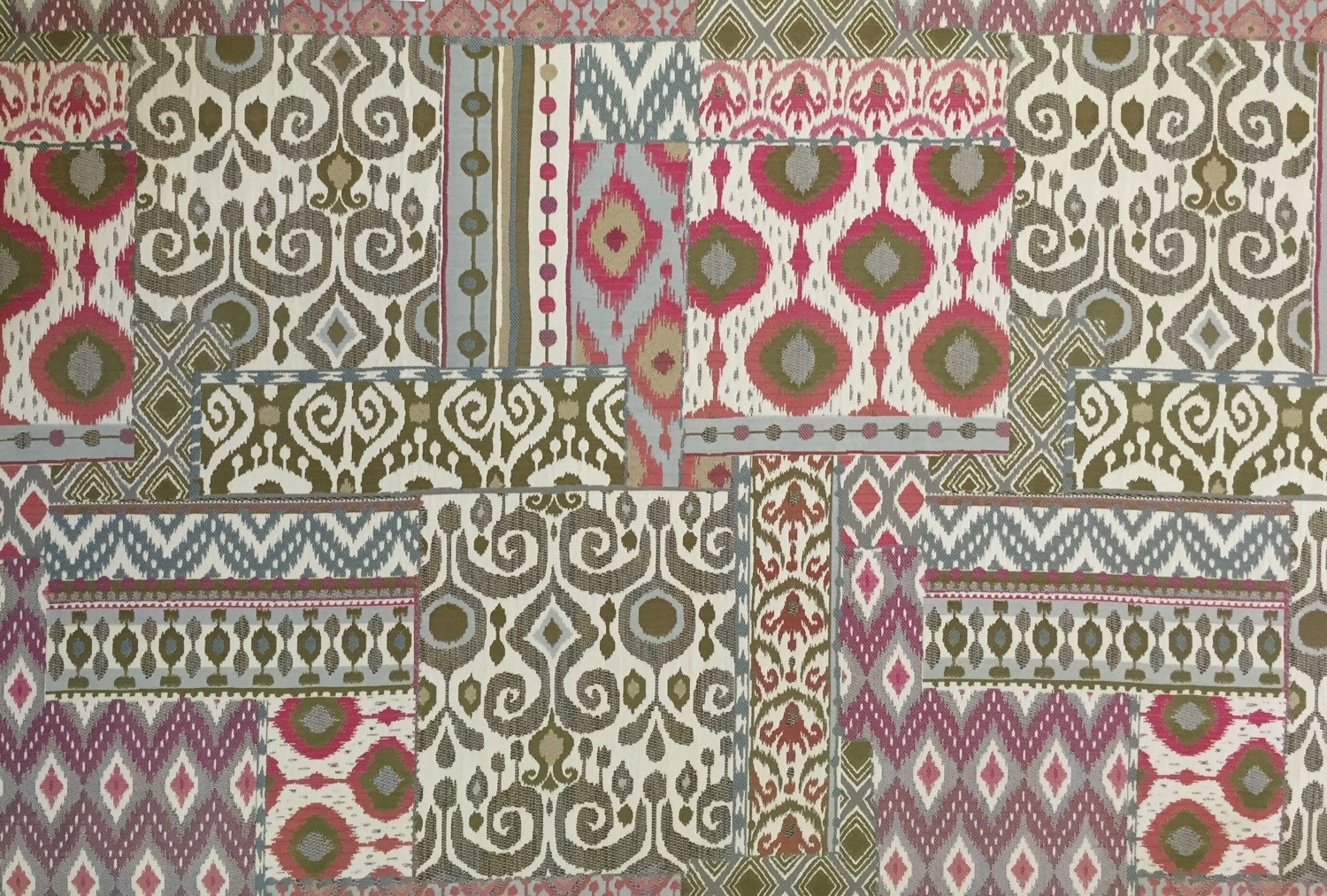 modern moroccan sangri patchwork upholstery fabric