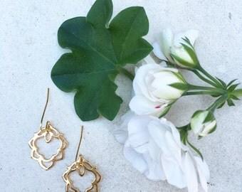 Sample Sale! Lotus Inspired Gold Earrings