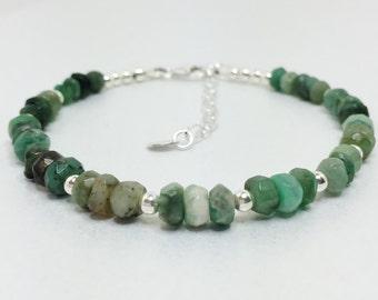 Emerald Minimalist Bracelet 925 Sterling Silver Green Natural Stone Jewellery Emerald Gemstone Bracelet Green Beaded Bracelet Gift For Her