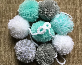 Pompom Garland in Mint,Grey and White