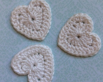 Crochet Heart Appliqué Embellishments in Cream