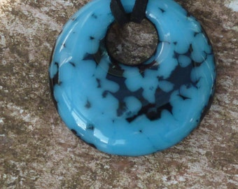 Blue and Black Round Fused Glass Pendant.  Turquoise and Black Round Glass Pendant.  Turquoise Necklace.