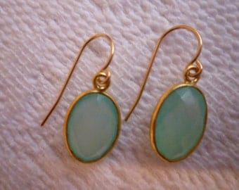 Chalcedony Earrings. AQUA CHALCEDONY EARRINGS. Bezel Set Earrings. Gold Earrings. Faceted Gemstones. 14K Gold fill Bezel Set Chalcedony.
