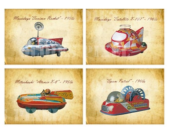 Sci Fi Robots Collection Digital Collage Sheet JPG PNG Images Instant Download Cards Tags Printout TC23