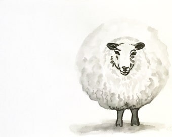 Ewenice the Sheep: Original art ink wash